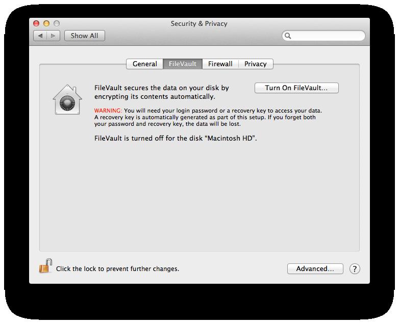 File Vault Configuration